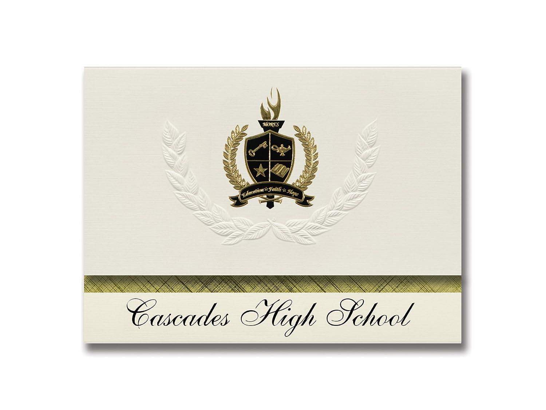 Signature Ankündigungen Kaskaden High School (New York, NY) Graduation Ankündigungen, Presidential Stil, Elite Paket 25 Stück mit Gold & Schwarz Metallic Folie Dichtung