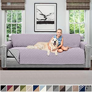Sofa Shield Original Patent Pending Reversible Oversize Sofa Slipcover, 2 Inch Strap Hook, Seat Width Up to 78 Inch Washable Furniture Protector, Slip Cover for Pets, Oversize Sofa, Purple Lt Gray