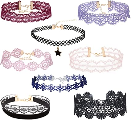 6Pieces Gothic Punk Stretch Black Velvet Lace Collar Choker Necklace Jewelry Set