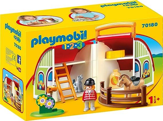 PLAYMOBIL - 1.2.3 Granja maletín Set Juguetes, Multicolor, 70180: Amazon.es: Juguetes y juegos