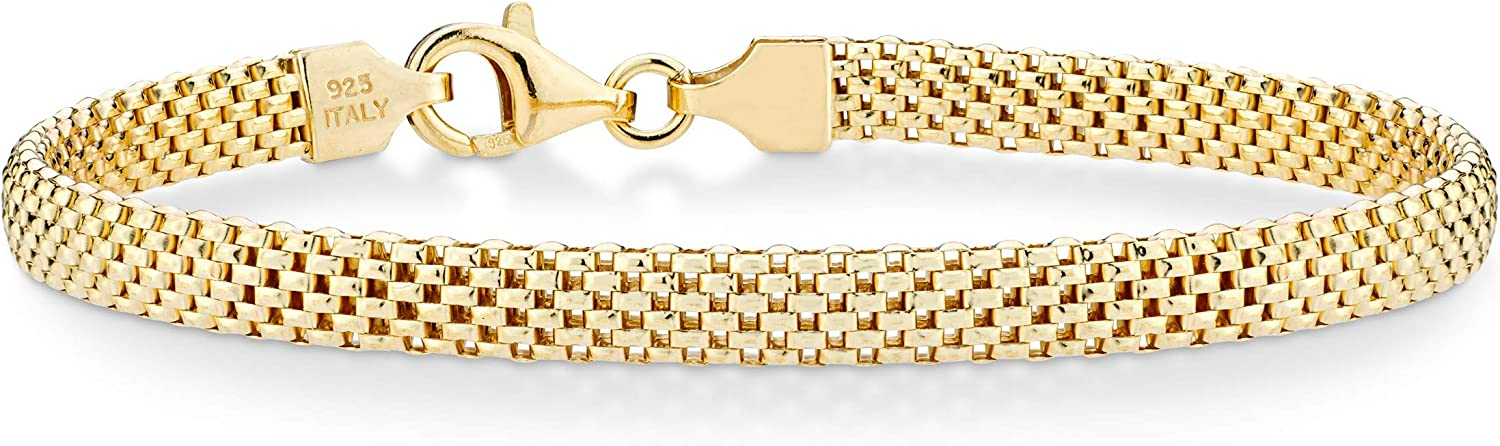 Miabella 18K Gold Over Sterling Silver Italian 5mm Mesh Link Chain Bracelet for Women 6.5, 7, 7.5, 8 Inch 925 Made in Italy