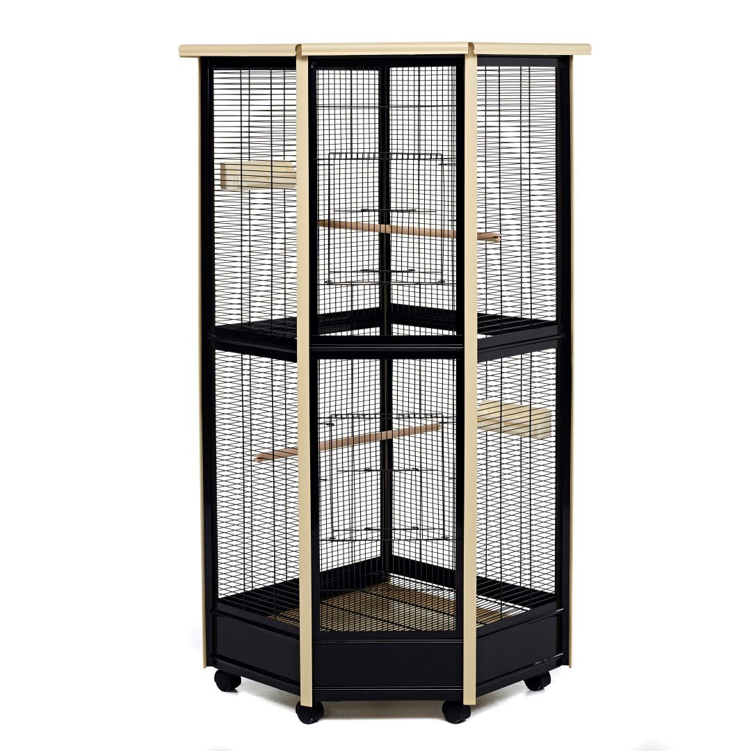 LITTLE FRIENDS Tall All Metal Corner Aviary Cage - Great For Birds ...