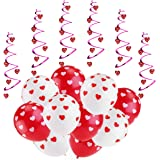 ROSENICE Balloon Decorations for Wedding Birthday Bridal Shower Anniversary Engagement Party and More, 6pcs Hanging Hearts and 20pcs Balloons