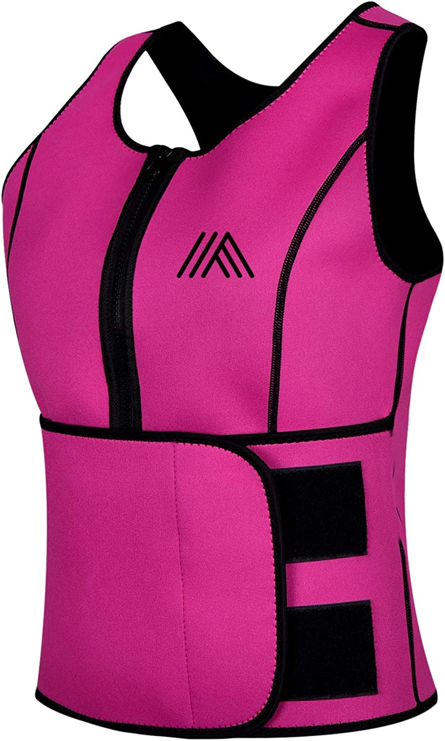 AQUIVA Neoprene Sweat Sauna Suit Trainer Vest for Women with Adjustable Waist Trimmer Belt for Weight Loss