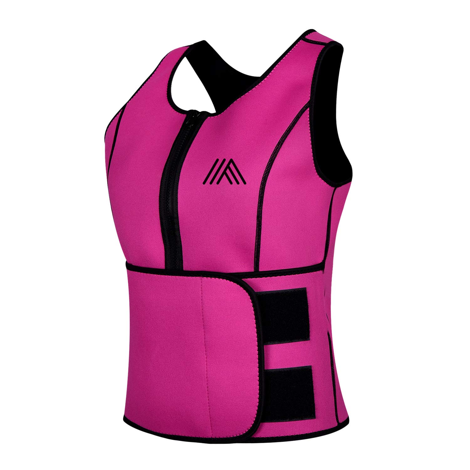 AQUIVA Neoprene Sweat Sauna Suit Trainer Vest for Women with Adjustable Waist Trimmer Belt for Weight Loss (Pink, L) by AQUIVA