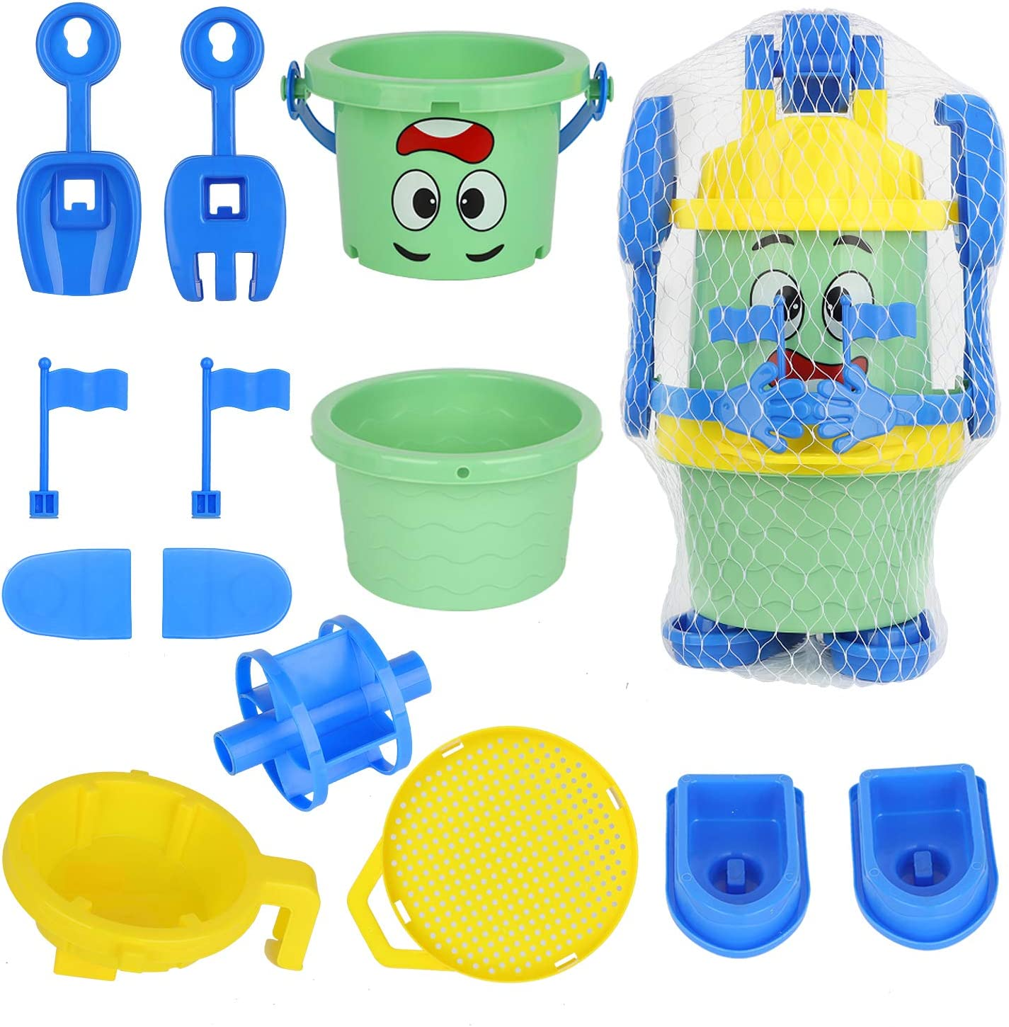 Qing Zhu Business /& Trade Robot Beach Toys for Kids,Beach Toy Set for Kids 3-10 Rakes Bucket Beach Pail Set with Molds Bucket and Plastic Pool Toy Boat,Shovels Molds for Kids .