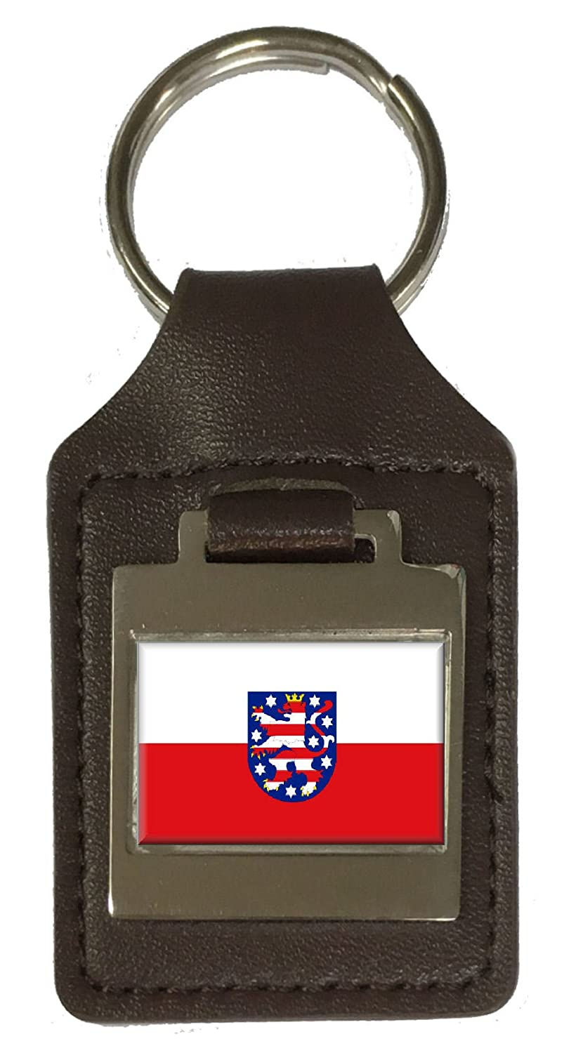 Leather Keyring Engraved Free State Of Thuringia Flag