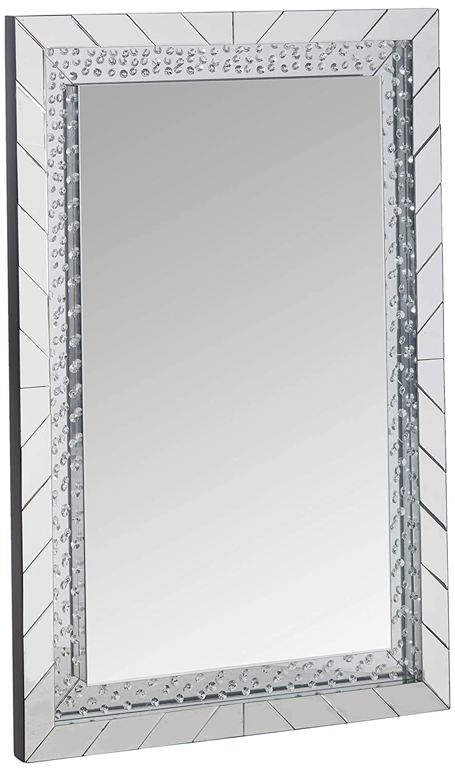 Major-Q 9097386 47 H Modern Style Rectangular Shape Crystal Insert Sophisticated Elegant Beveled Boarder Frame Wall Mirror