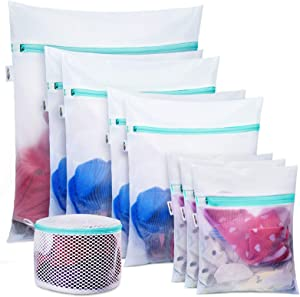 Plusmart 9 Pack Laundry Bag Including 8 Pack Mesh Laundry Bag for Delicetes, 1Pack Bra Wash Lingerie Bags(A to E Cup) for Washing Machines/Washer