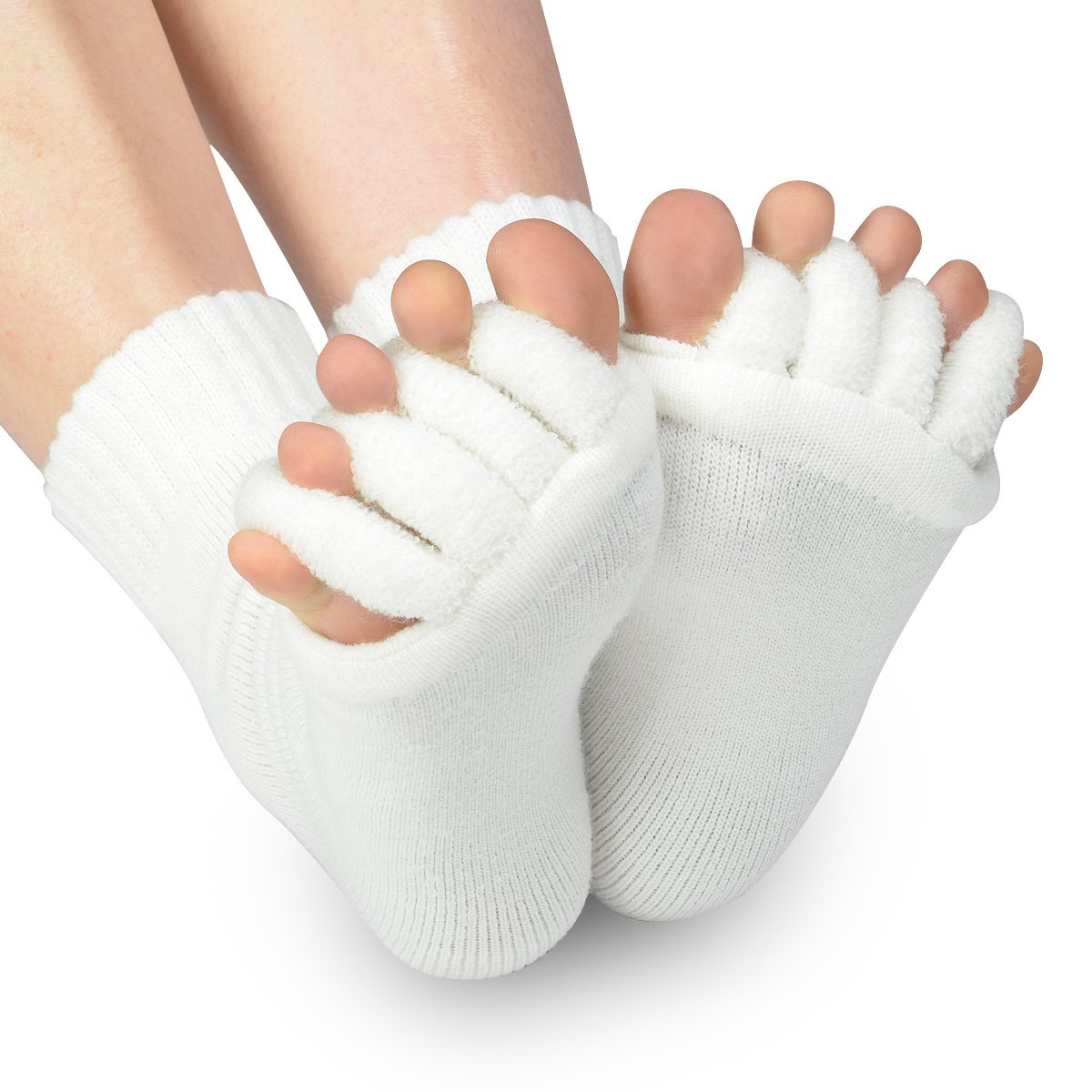 DevsWear Alignment Socks Open Five Toes Separator Toe Spacer Relaxing Comfort Tendon Pain Relief Comfy Foot Sock Yoga Gym Pedicure