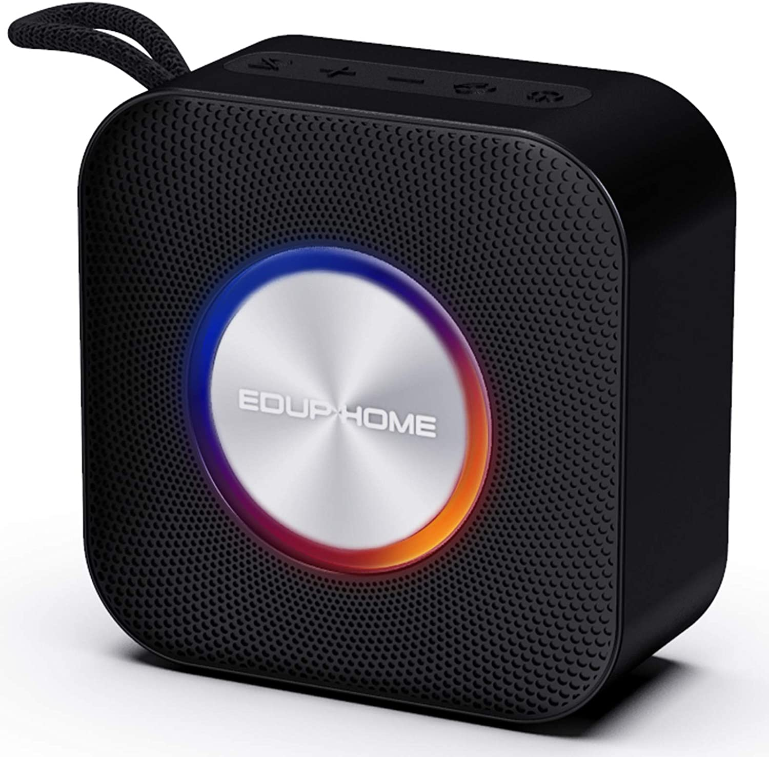 Portable 5.0 Bluetooth Speaker Stereo 15W with Mic Hand Free Call, IPX7 Waterproof Louder Volume 12 H Playtime 80 Ft Wireless Range Speakers with Pulsating Lights for Home Party Music Black