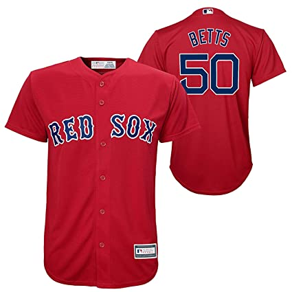 Outerstuff Mookie Betts Boston Red Sox  50 Red Youth Cool Base Alternate  Replica Jersey ( 82cf60a4b65
