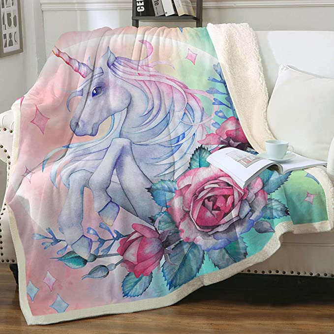 Dreamscene Unicorn Fleece Blanket Throw Over for Girls Adult Baby Kids Twin Bed Couch Plush Sofa Warm Soft Blush Pink White Stars 50 x 60