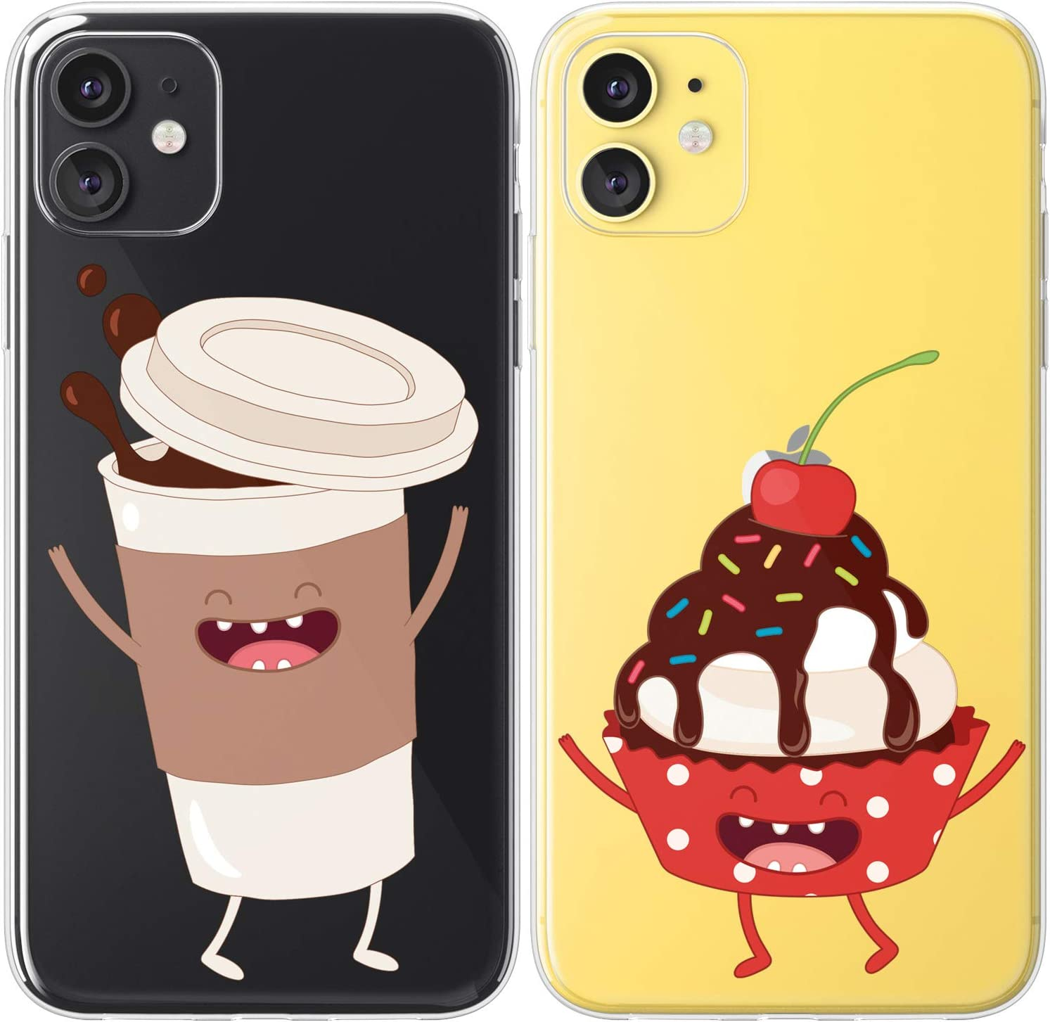 Mertak TPU Couple Cases Compatible with iPhone 12 Pro Max Mini 11 SE Xs Xr 8 Plus 7 6s Chocolate Relationship Silicone Lightweight Cute Cupcake Coffee Soulmate Design Girlfriend Kawaii Clear Food