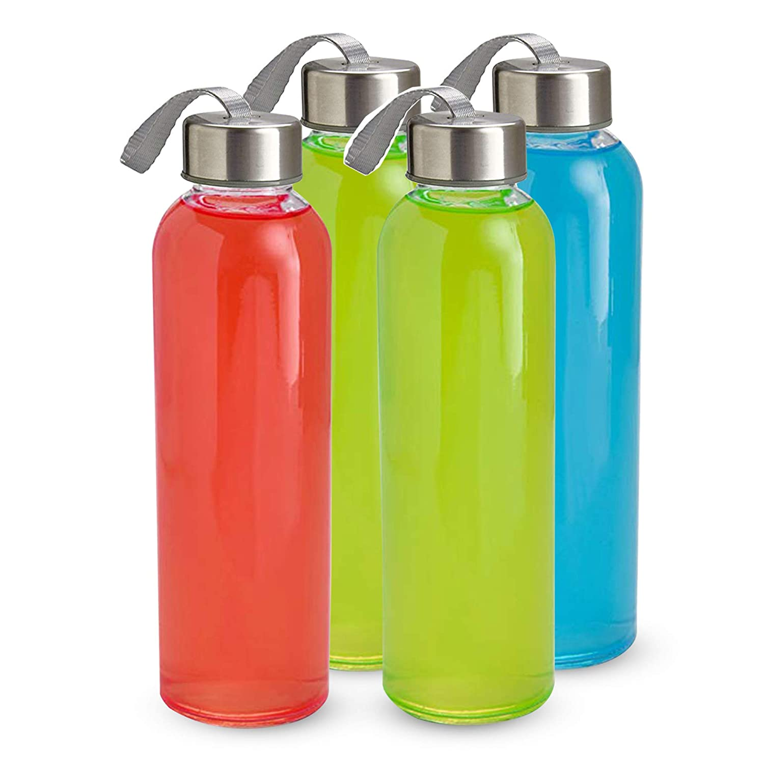 Smoothie Kitchen Lux Glass Water Bottles 18oz 4 Pack PVC and BPA Free Portable Carrying Loops Juicer and Beverage Glasses Airtight Screw Top Lids Nylon Protective Sleeves Water Lead
