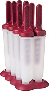 Tovolo Twin Popsicle Molds with Sticks Ice Pop Maker BPA Free Food Safe Dishwasher Safe Great for Homemade Juice Popsicles! Set of 4 makes 8 Pops with Stand!, Sangria