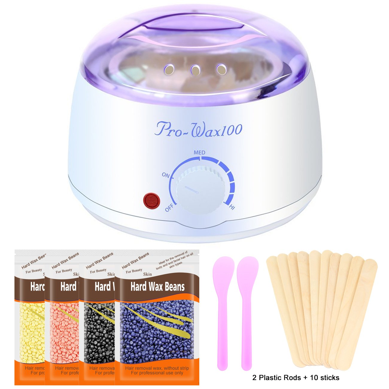 Waxing Kit Hot Wax Warmer kit with 4 Flavors Hard Pearl Beans, Painless Hair Removal Wax heater Machine for Women Men's Body Brazilian Gigi Ear Nose Leg at Home with 10 Applicator Sticks 2 Mask Stick
