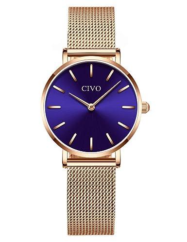CIVO Relojes para Mujer Simple Impermeable Oro Rosa Relojes de Pulsera Señoras Chicas Adolescentes Fresco Moda Casual Espacio Negocios Reloj Analógico de ...