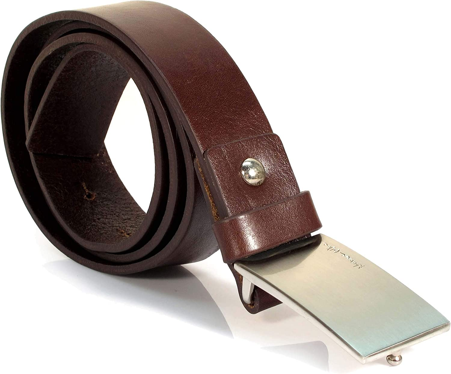 Mens Real Genuine Leather Belt Black Brown White 1.25 Wide S-L Casual Jeans TM1