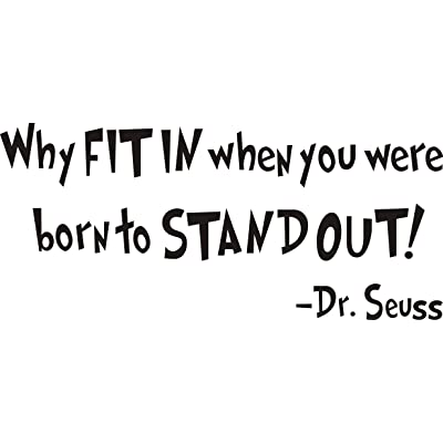 """SWORNA Baby Nursery Series Dr. Seuss Why Fit in Vinyl Kid Wall Art Decal Saying Lettering Quote Sticker Uplifting Decor Bedroom Playroom Kindergarten Nursery Classroom DIY Decoration 10"""" H X 22"""" W: Toys & Games"""