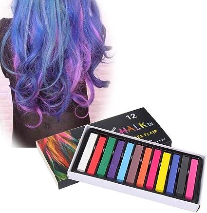 PAWACA pelo tiza lavable, temporal pelo tizas crear un look Funky para niños y adolescentes – 24-Pack temporal pelo tizas: Amazon.es: Belleza