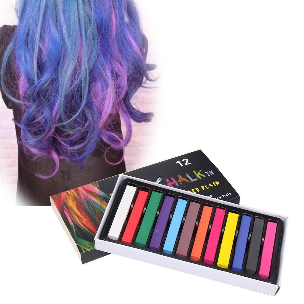 Aolvo - Juego de 12 y 24 bolígrafos de tiza para el pelo para niñas, tinte de pelo no tóxico, temporal, lavable, colores para fiesta y cosplay