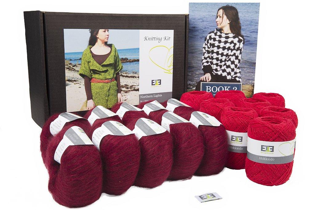 DesignEtte Crochet Kit, Northern Lights, Raw Silk and Super Kid Mohair/Silk, XS, Salvie/Dark Red s-9314SDRXS