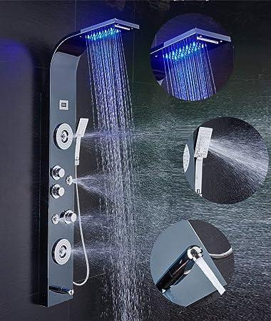 Black LED Shower column Shower fittings stainless steel Rain shower Shower column shower set