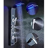 ELLO&ALLO Stainless Steel Shower Panel Tower System,LED Shower Head 6-Function Faucet Rain Massage System with Body Jets, Bla