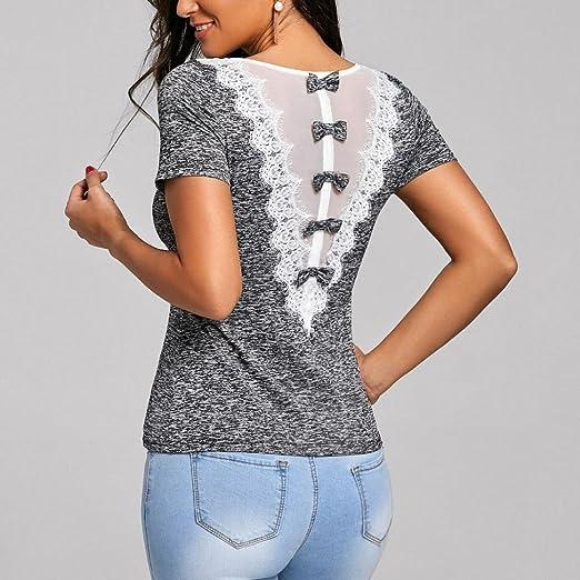 98d36cbf2d0 Wolfleague Mode T-Shirt Femmes Dentelle Chic Manche Courte Rose Imprimer O  Cou Pull T-Shirt Femme Tops Blouse Grande Taille S ~ XXL  Amazon.fr   Vêtements et ...
