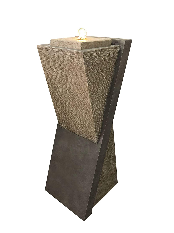 Diagonal Stone Pillar Water Feature
