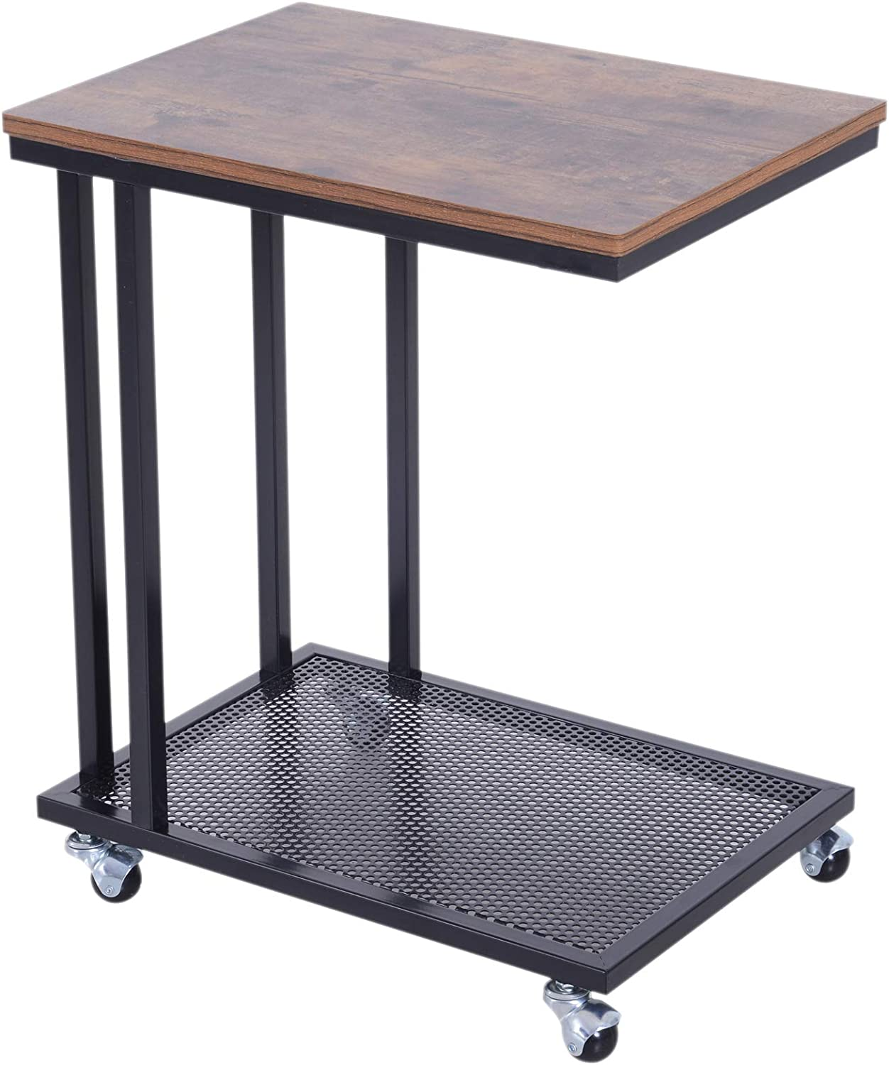 - HOMCOM Mobile Sofa Side End Coffee Table Coffee Table Laptop Stand Metal  Frame Rolling Castors Storage Wooden Trolly: Amazon.co.uk: Kitchen & Home
