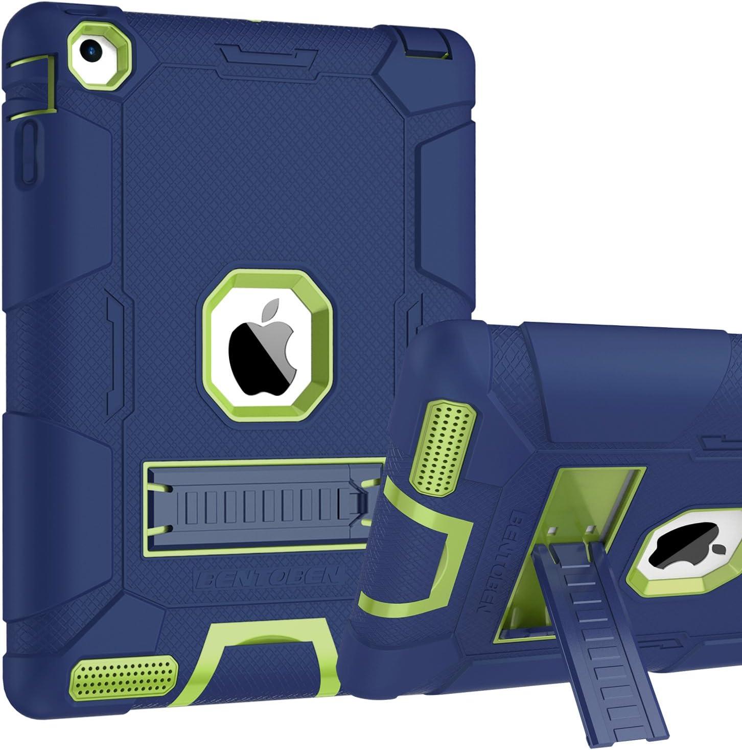 iPad 4 Case, iPad 2 Case, iPad 3 Case, BENTOBEN Kickstand Full-body 3 IN 1 Soft&Hard Protective Heavy Duty Rugged Shockproof Drop Resistance Anti-slip Cover for Apple iPad 2/3/4 Retina,Navy Blue/Green