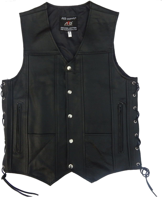 ARD CHAMPS Men's Leather 10 Pockets Motorcycle Biker Vest