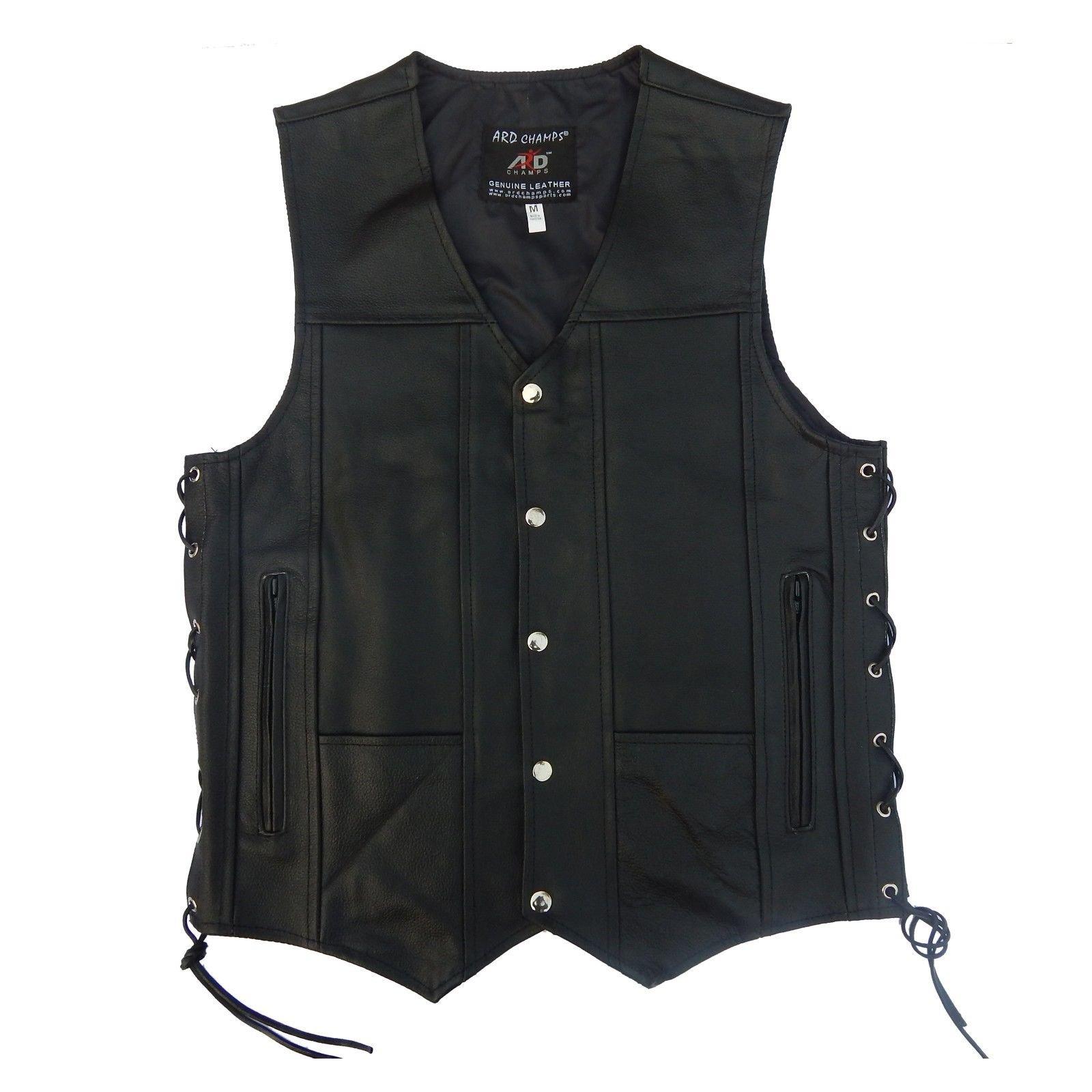 4Fit Men's Black Genuine Leather 10 Pockets Motorcycle Biker Vest S To 6XL (5XL (CHEST 58''))