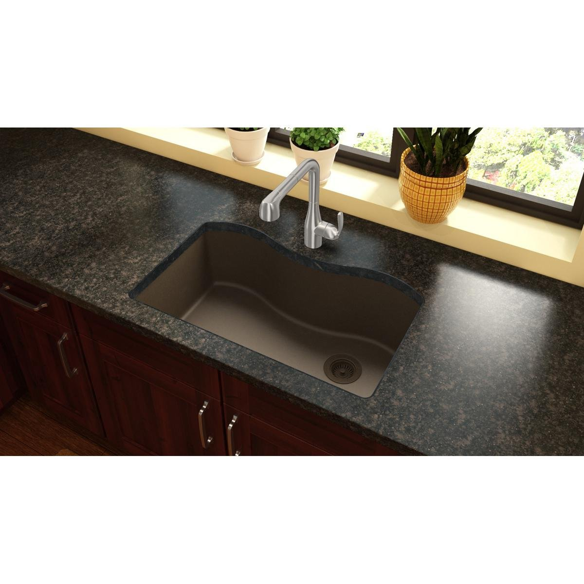 Elkay Quartz Classic Mocha Single Bowl Undermount Sink Single Bowl Sinks  Amazoncom