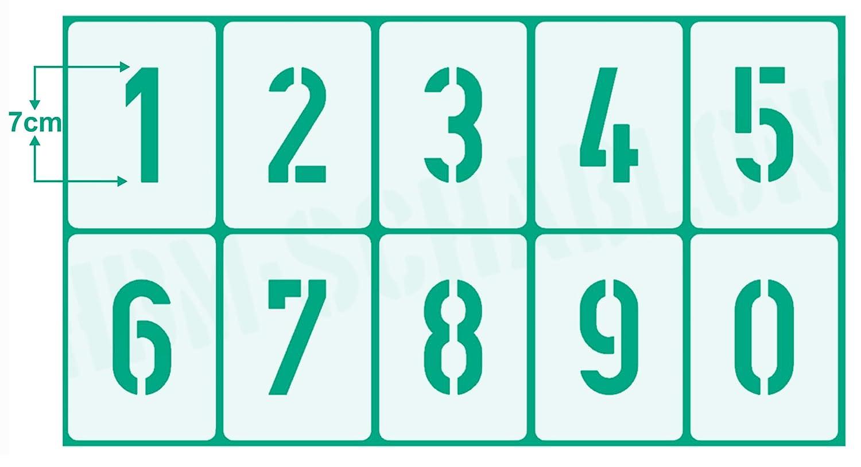 Zahlen 0-9 5cm hoch Zahlen-Schablonen-Set 003505 10 einzelne Schablonen