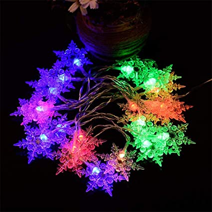 easy purchase snowflake string lights 33 ft 100 led 8 lighting modes fairy lights battery