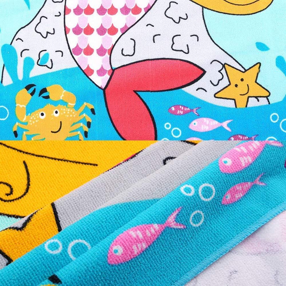 Alter 3-7 Jahre schnell trocknend Blue Mermaid Strandtuch f/ür M/ädchen und Jungen weich Aoutacc Kinder Kapuzen-Badetuch Schwimmen Poncho Handtuch f/ür Bad Strand
