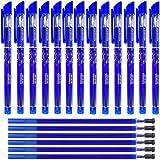 Gudotra 12pcs Bolígrafos Borrables + 30 Recargas Azules Recargas de Bolígrafos Borrables Punta de 0.5 mm (Estilo6-12pz Bolígrafos+20 Recargas Azules)…