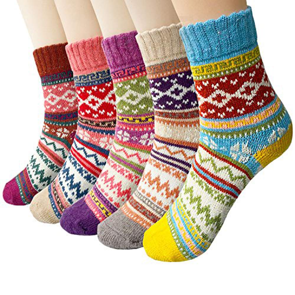 Womens Winter Warm Socks Vintage Style Thick Knit Wool Cozy Crew Socks, 5 Pairs 1