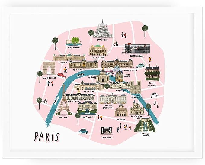 Parigi Cartina Monumenti.Alex Foster Illustrazione La Mappa Di Parigi Amazon It Cancelleria E Prodotti Per Ufficio