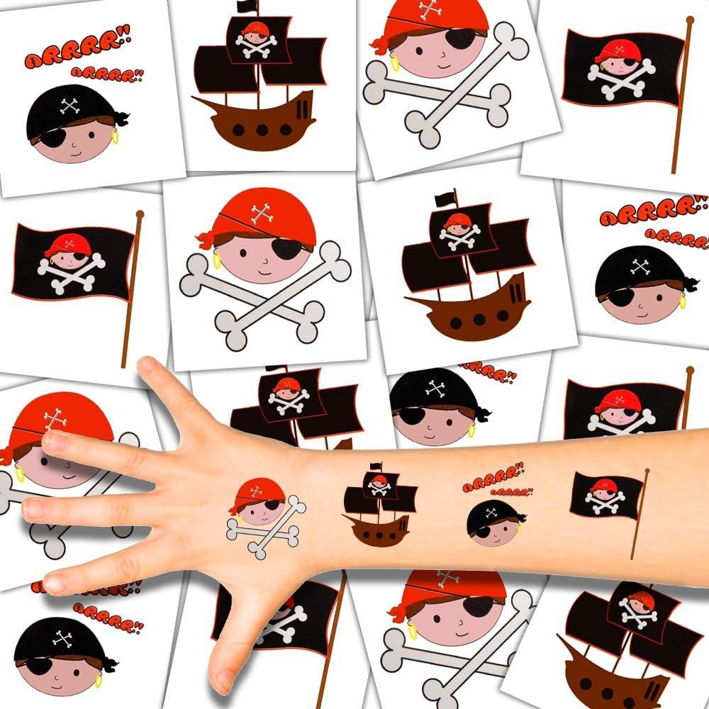 German Trendseller® - 12 x XL Tatuajes temporales Pirata┃ Fiestas Infantiles┃ Idea de Regalo┃piñata┃cumpleaños de niños┃ 12 Unidades