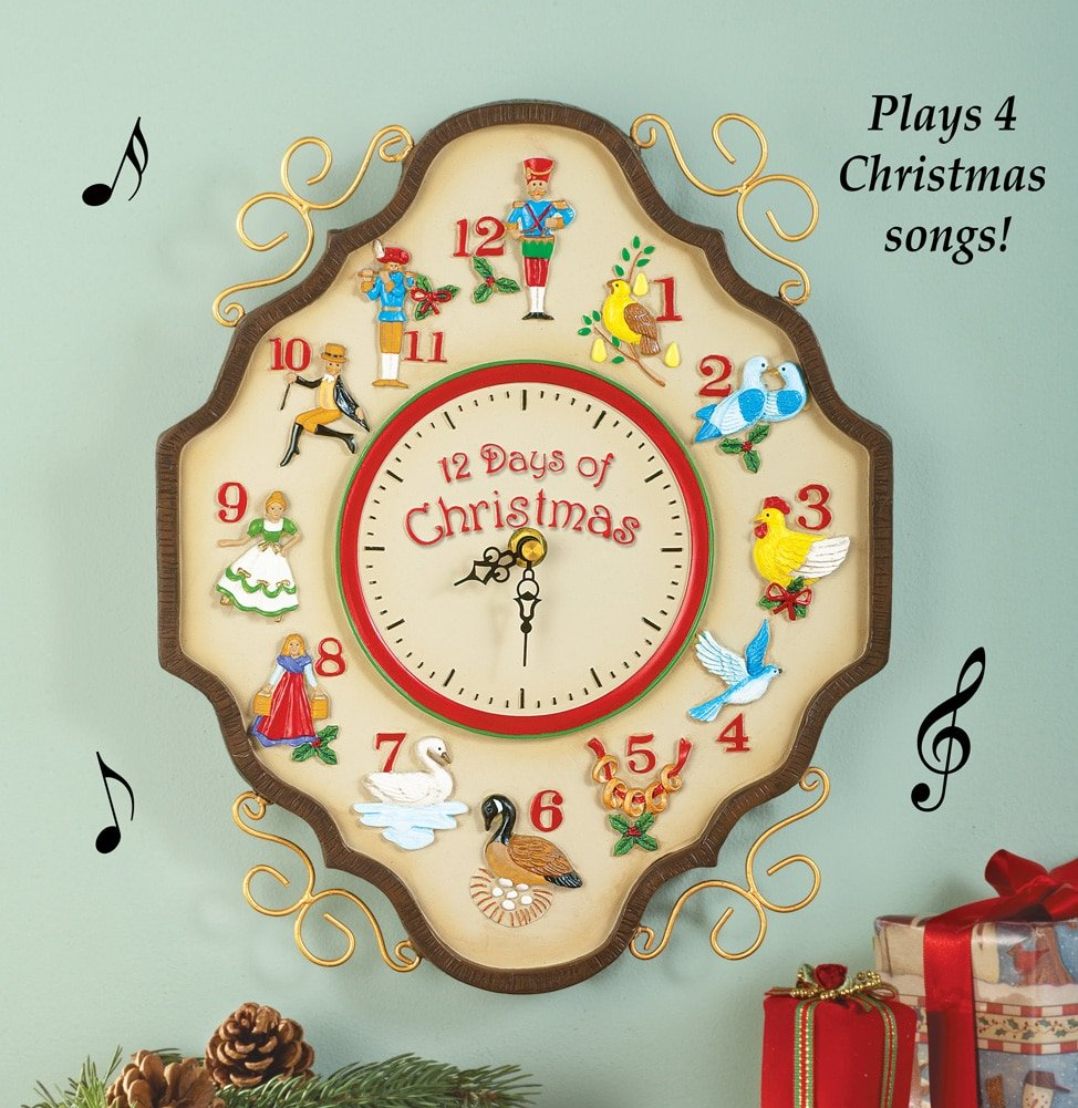 Amazon.com: Musical 12 Days Of Christmas Wall Clock: Home & Kitchen