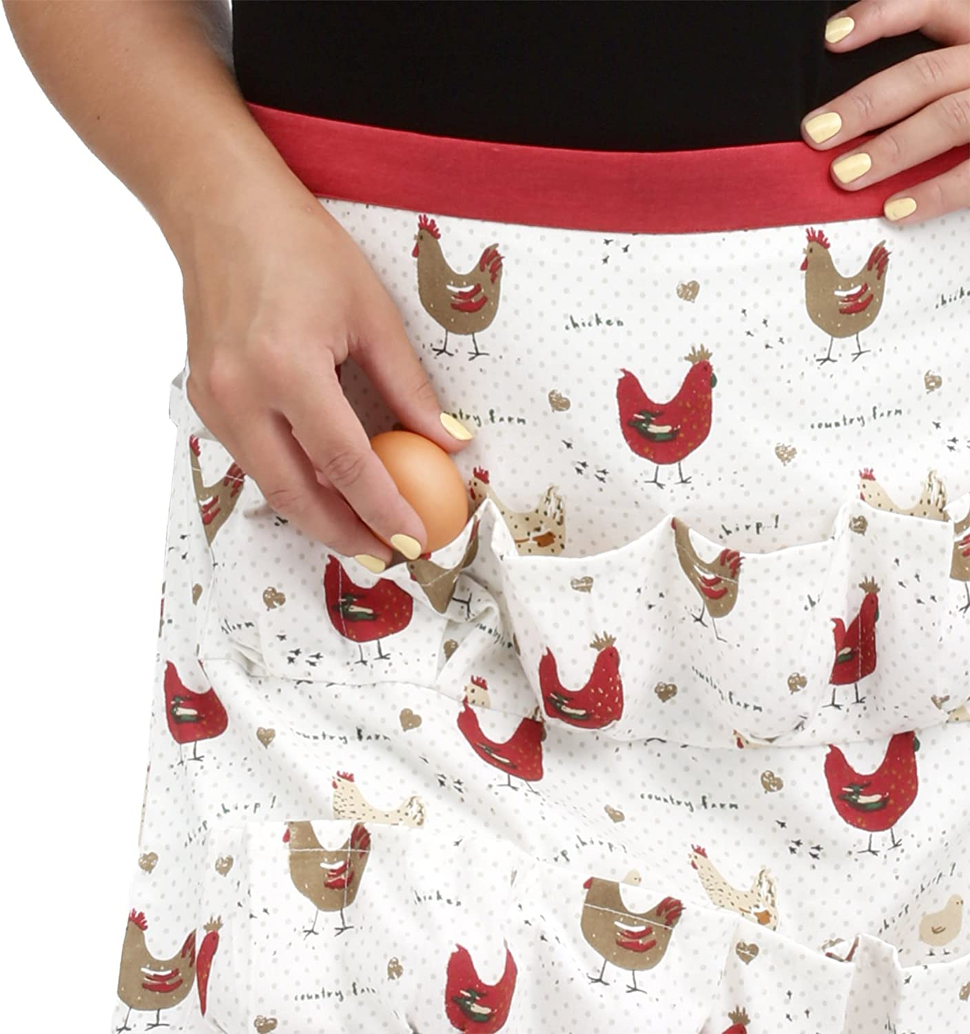 Cackleberry Home Farmhouse Chicken Egg Collecting & Gathering Apron 12 Pockets (Adult Size)
