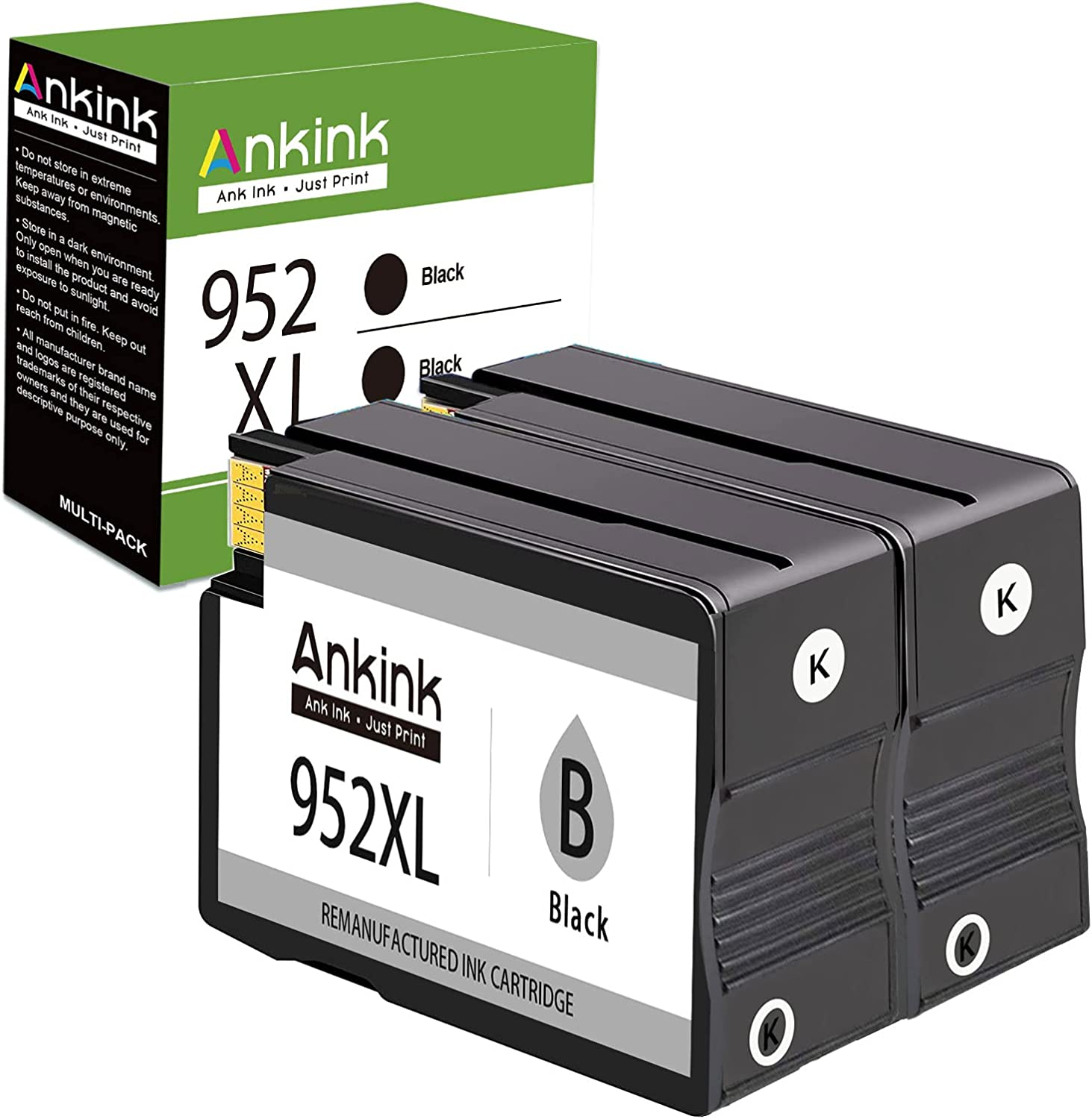 Ankink Compatible Black Ink Cartridge Replacement for HP 952 XL 952XL High Yield Fit for OfficeJet Pro 8710 8720 7740 8715 8740 8715 7720 8725 8702 8216 Printers HP952 HP952XL Combo (2 Black 2 Pack)