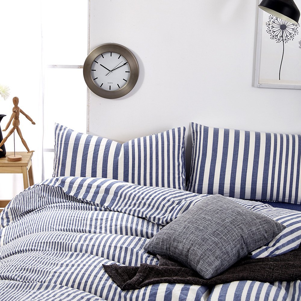 Striped Pattern Queen Duvet Cover Set Cotton Blue White Printed Bedding Sets