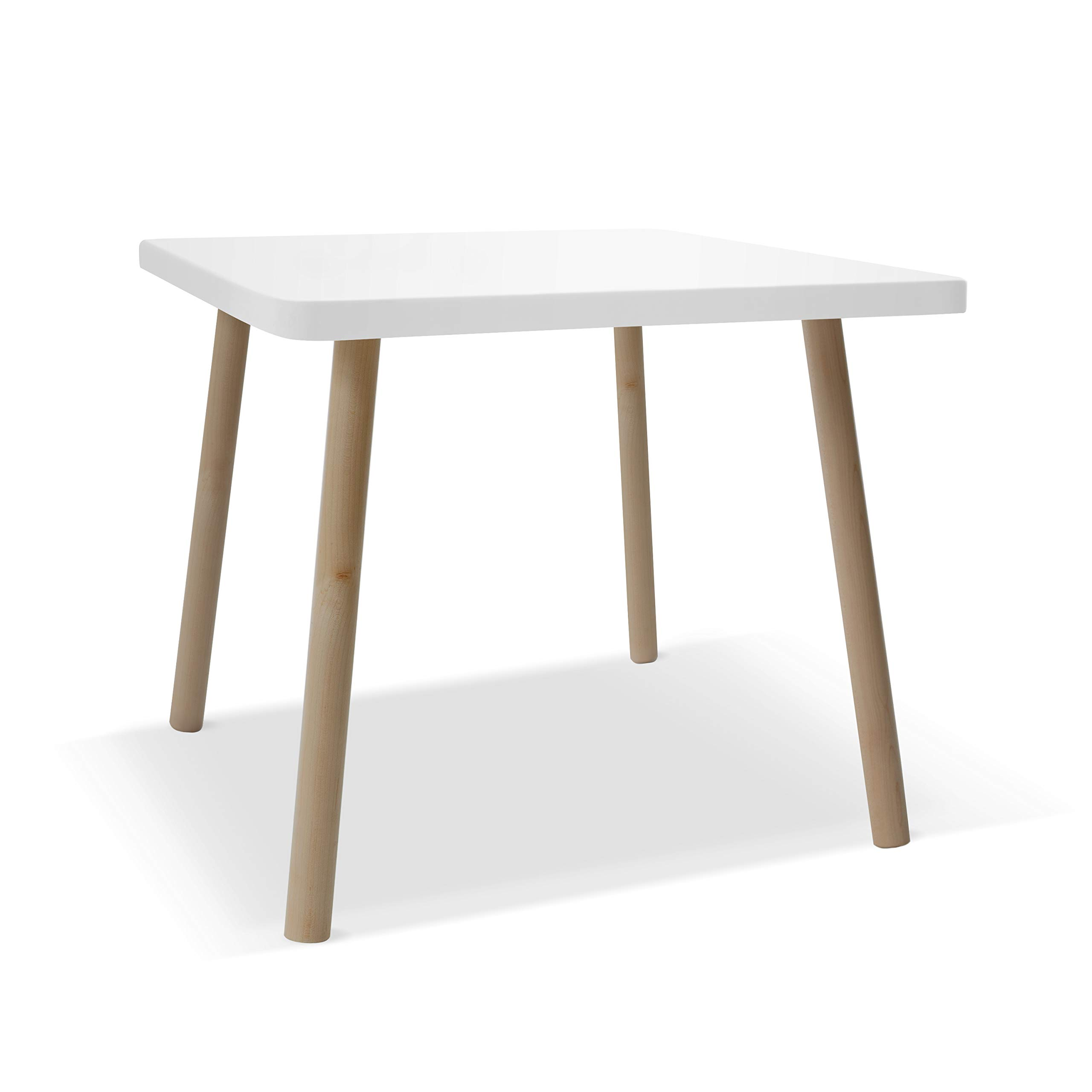 Nico & Yeye Tippy Toe Small Square 23.5'' Kids Table, Maple with White Accent, Custom Made to Order by Nico & Yeye