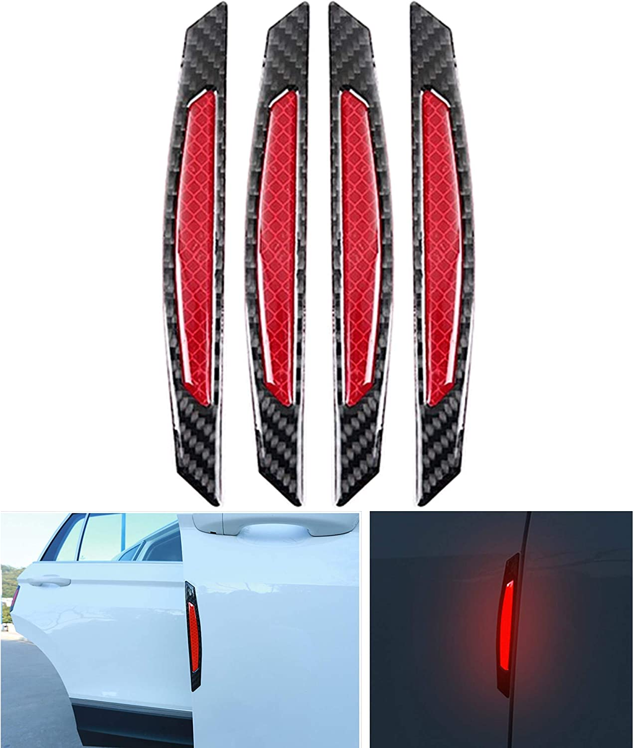2pcs Car Door Edge Guard Reflective Sticker Tape Decal Safety Warning Acces Top