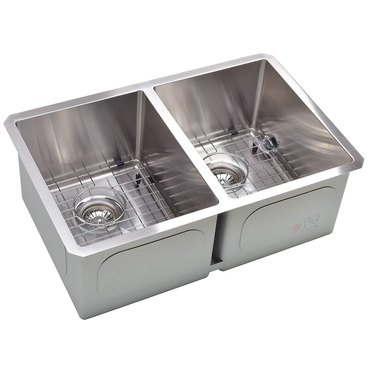 Koozzo undermount Kitchen Sink, 28 Rectangular Double Bowl, Stainless Steel,16 Gauge
